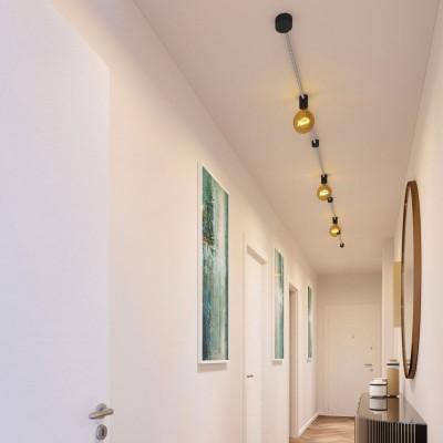 Filé systém - sestava pro přímou instalaci - 5m kabelu pro světelné řetězy a 7 černých lakovaných dřevěných komponentů