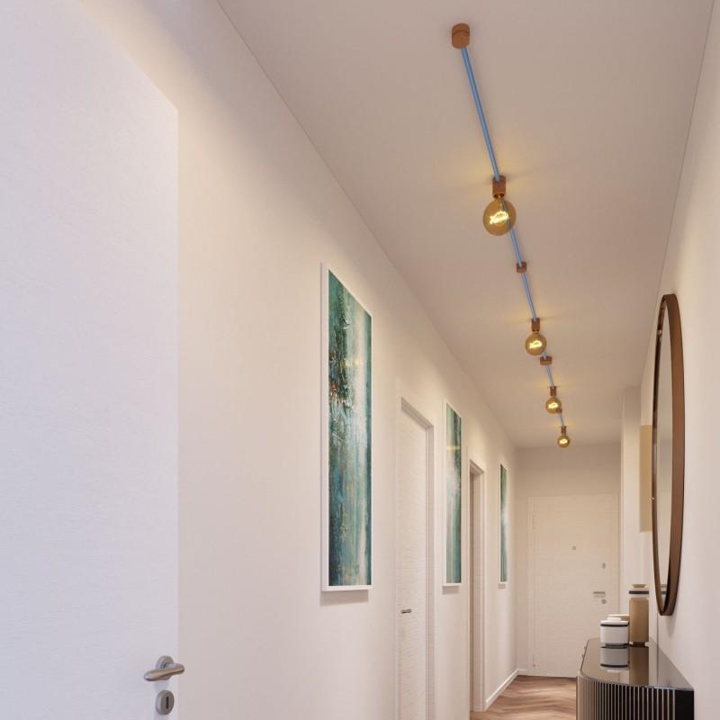 Filé systém - sestava pro symetrickou instalaci - 5m kabelu pro světelné řetězy a 9 dřevěných komponentů