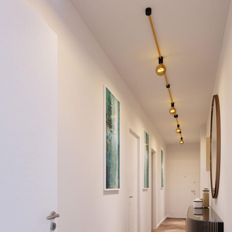 Filé systém - sestava pro symetrickou instalaci - 5m kabelu pro světelné řetězy a 9 černých lakovaných dřevěných komponentů