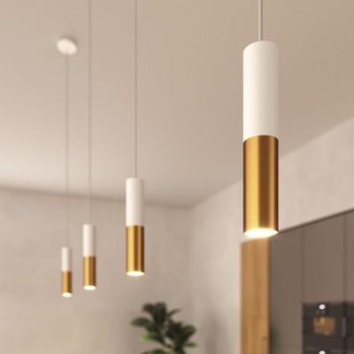 Závěsná lampa doplněná o textilní kabel a dvojité stínidlo Tub-E14 - vyrobená v Itálii