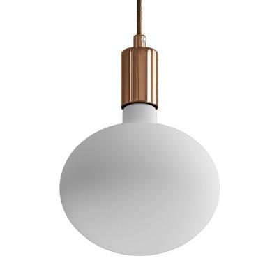 Závěsná lampa s textilním kabelem a kontrastními kovovými detaily – Vyrobeno v Itálii