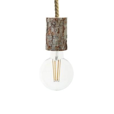 Závěsná lampa s XL námořnickým kabelem a malou dřevěnou objímkou s kůrou – Vyrobeno v Itálii