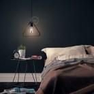 Závěsná lampa s textilním kabelem, stínidlem Duedì Apex a kovovými detaily – Vyrobeno v Itálii