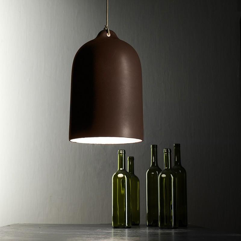 Závěsná lampa s textilním kabelem a keramickým stínidlem Zvon XL – Vyrobeno v Itálii