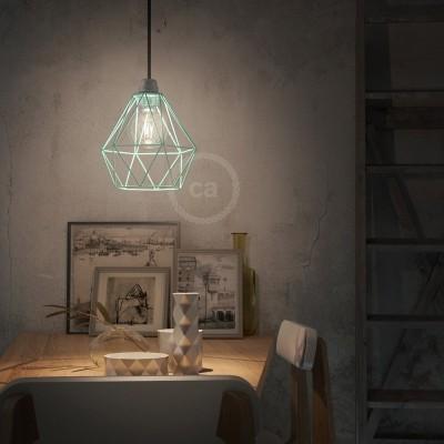 Závěsná lampa s textilním kabelem, stínidlovým rámem Diamant a kovovými detaily – Vyrobeno v Itálii