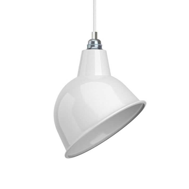 Závěsná lampa s textilním kabelem, stínidlem Broadway a kovovými detaily – Vyrobeno v Itálii