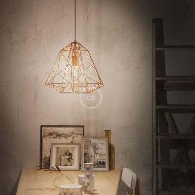 Závěsná lampa s textilním kabelem, stínidlovým rámem Apollo a kovovými detaily – Vyrobeno v Itálii