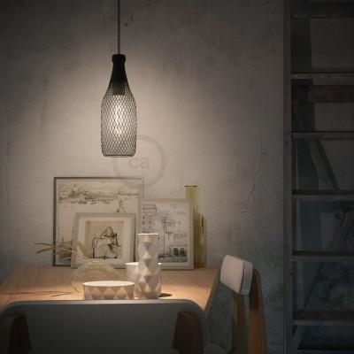 Závěsná lampa s textilním kabelem, stínidlovým rámem Magnum a kovovými detaily – Vyrobeno v Itálii