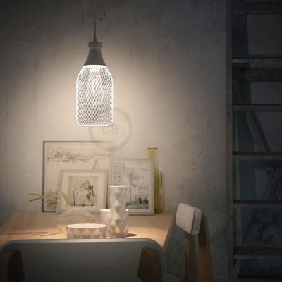 Závěsná lampa s textilním kabelem, stínidlem tvaru lahve Jéroboam a kovovými detaily – Vyrobeno v Itálii