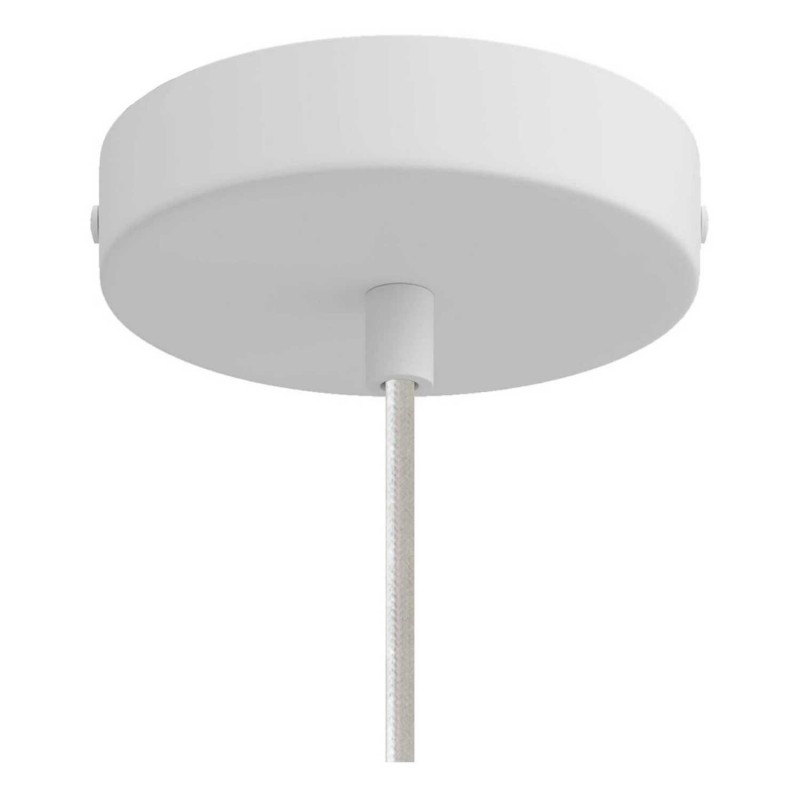 Závěsná lampa s textilním kabelem, stínidlovým rámem Sonar a kovovými detaily – Vyrobeno v Itálii
