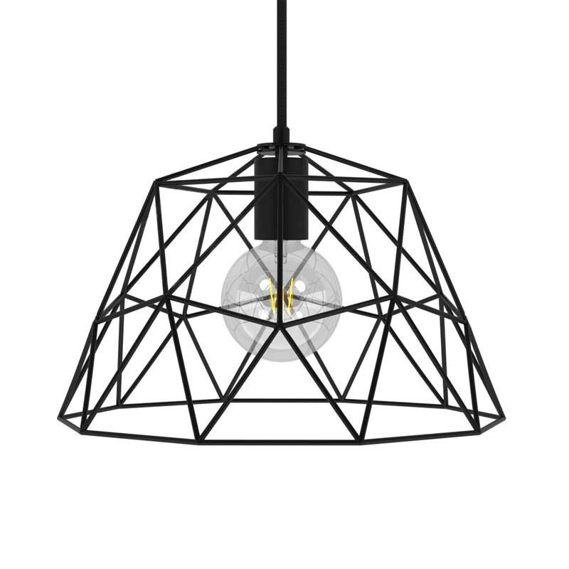 Závěsná lampa s textilním kabelem, stínidlovým rámem Dome a kovovými detaily – Vyrobeno v Itálii