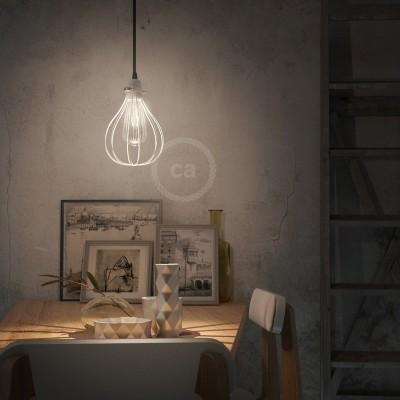 Závěsná lampa s textilním kabelem, stínidlovým rámem Kapka a kovovými detaily – Vyrobeno v Itálii