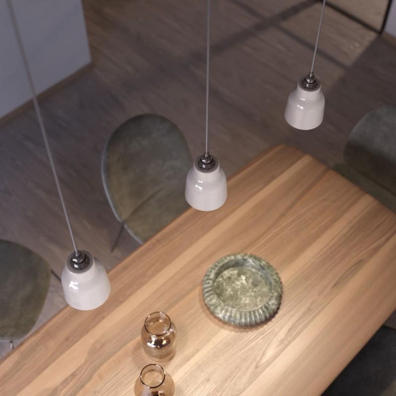Závěsná lampa s textilním kabelem, keramickým stínidlem tvaru Vázy s kovovými detaily - Vyrobeno v Itálii