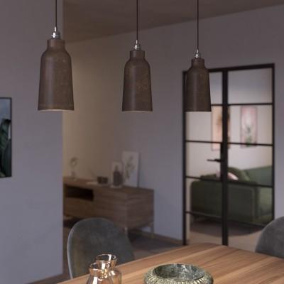 Závěsná lampa s textilním kabelem, keramickým stínidlem tvaru Lahve s kovovými detaily - Vyrobeno v Itálii