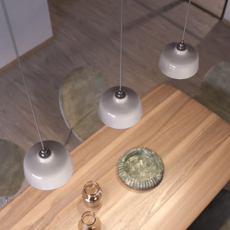 Závěsná lampa s textilním kabelem, keramickým stínidlem tvaru Misky s kovovými detaily - Vyrobeno v Itálii