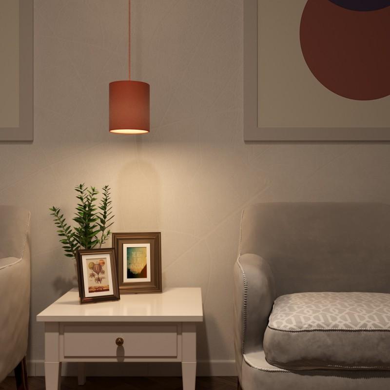 Závěsná lampa s textilním kabelem, plátěným stínidlem a kovovými detaily - Vyrobeno v Itálii