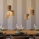 Závěsná lampa s textilním kabelem, přírodním válcovým stínidlem a kovovými detaily – Vyrobeno v Itálii