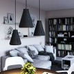 Závěsná lampa s textilním kabelem, betonovým stínidlem Funnel a kovovými detaily – Vyrobeno v Itálii
