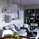 Závěsná lampa s textilním kabelem, betonovým stínidlem Cube a kovovými detaily – Vyrobeno v Itálii