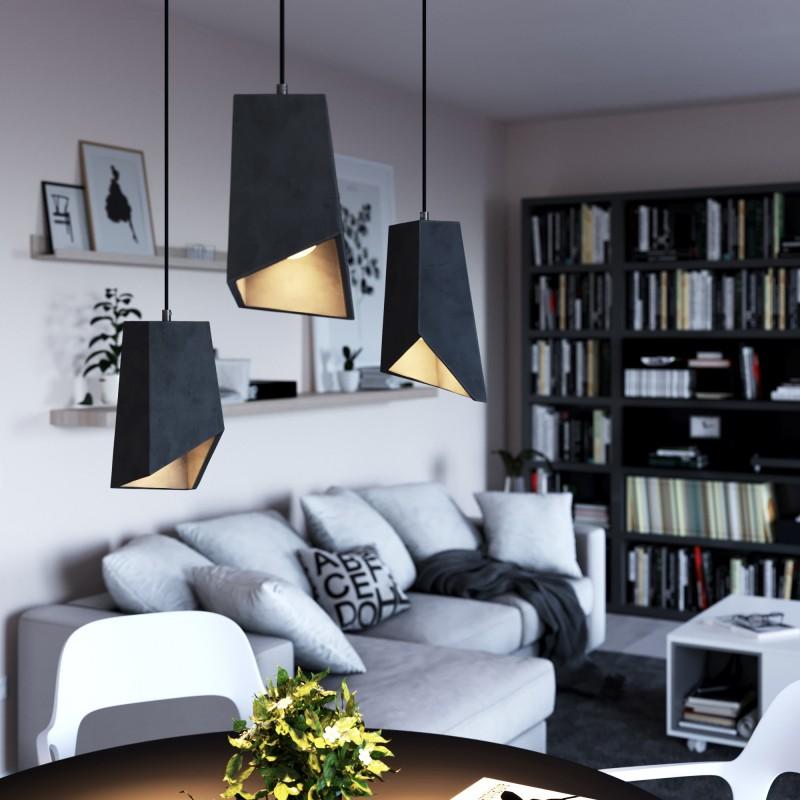 Závěsná lampa s textilním kabelem, betonovým stínidlem Prisma a kovovými detaily – Vyrobeno v Itálii