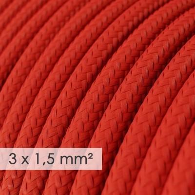 Textilní elektrický kabel se širším průměrem 3x1,5 - umělý hedváb RM09 červený