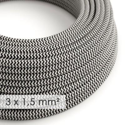 Textilní elektrický kabel se širším průměrem 3x1,5 - umělý hedváb RZ04 cik-cak černý