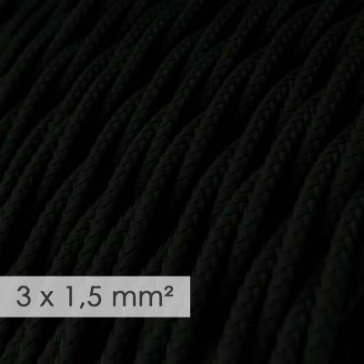 Textilní elektrický kabel se širším průměrem 3x1,5 - spirálový - umělý hedváb TM04 černý