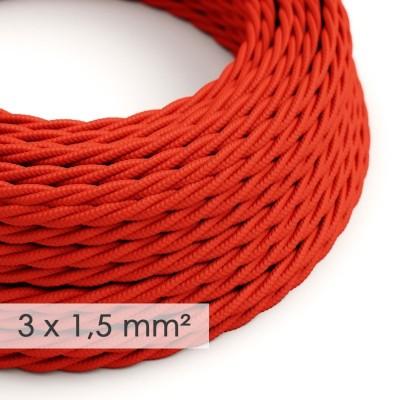Textilní elektrický kabel se širším průměrem 3x1,5 - spirálový - umělý hedváb TM09 červený