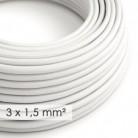 Textilní elektrický kabel se širším průměrem 3x1,5 - umělý hedváb RM01 bílý