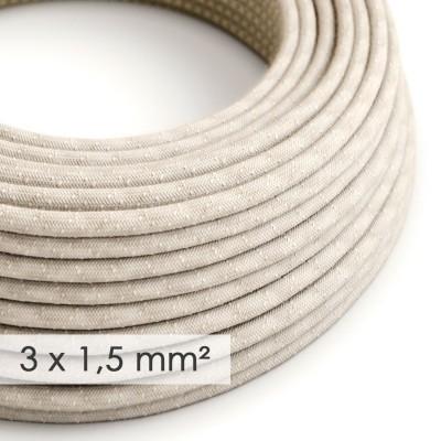 Textilní elektrický kabel se širším průměrem 3x1,5 - len přírodní neutrální barvy RN01