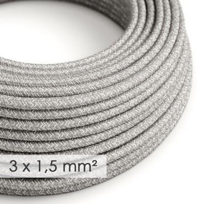 Textilní elektrický kabel se širším průměrem 3x1,5 - len přírodní šedé barvy RN02