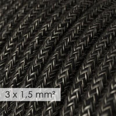 Textilní elektrický kabel se širším průměrem 3x1,5 - len přírodní antracitové barvy RN03