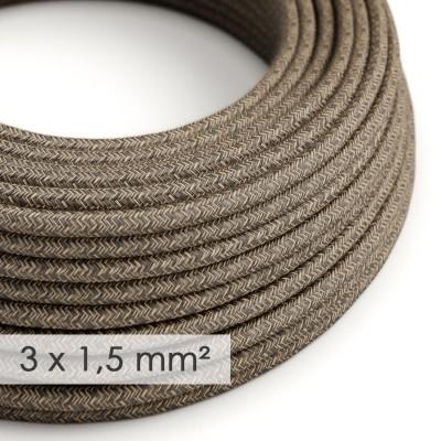 Textilní elektrický kabel se širším průměrem 3x1,5 - len přírodní hnědé barvy RN04