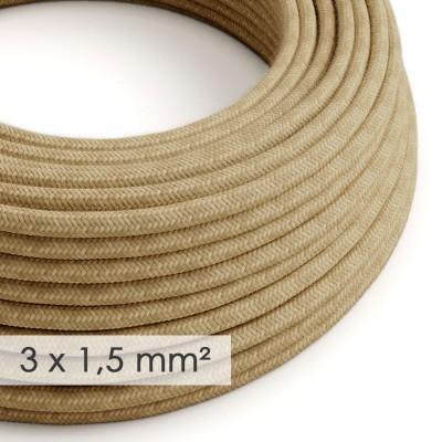Textilní elektrický kabel se širším průměrem 3x1,5 - potažený jutou RN06