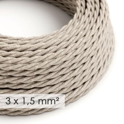 Textilní elektrický kabel se širším průměrem 3x1,5 - spirálový - len, přírodní neutrální barva TN01