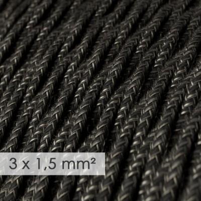 Textilní elektrický kabel se širším průměrem 3x1,5 - spirálový - len, přírodní antracitové barvy TN03