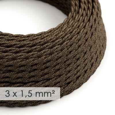 Textilní elektrický kabel se širším průměrem 3x1,5 - spirálový - len, přírodní hnědé barvy TN04