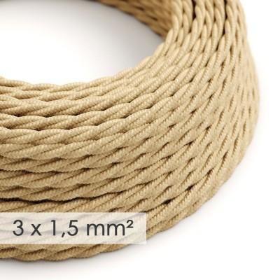 Textilní elektrický kabel se širším průměrem 3x1,5 - spirálový - potažený jutou TN06