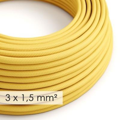 Textilní elektrický kabel se širším průměrem 3x1,5 - umělý hedváb RM10 žlutý