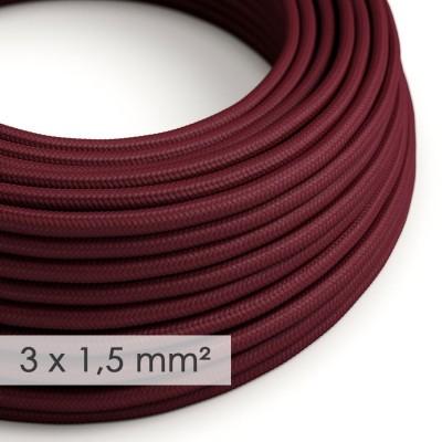 Textilní elektrický kabel se širším průměrem 3x1,5 - umělý hedváb RM19 bordový