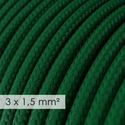 Textilní elektrický kabel se širším průměrem 3x1,5 - umělý hedváb RM21 zelený