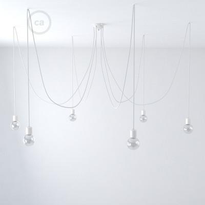 Svítidlo se 6 závěsnými světly, s žárovkami, textilním kabelem a barevnými keramickými komponenty. Vyrobeno v Itálii.