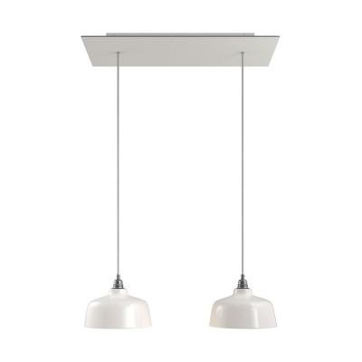 Závěsná lampa se 2 světly, s obdélníkovým XXL baldachýnem Rose-One, textilním kabelem a keramickými stínidly