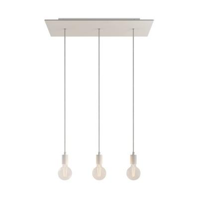 Závěsná lampa se 3 světly, s obdélníkovým XXL baldachýnem Rose-One, textilním kabelem a kovovými komponenty