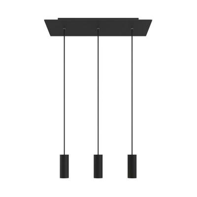 Závěsná lampa se 3 světly, s obdélníkovým XXL baldachýnem Rose-One, textilním kabelem a kovovými stínidly Tub E14