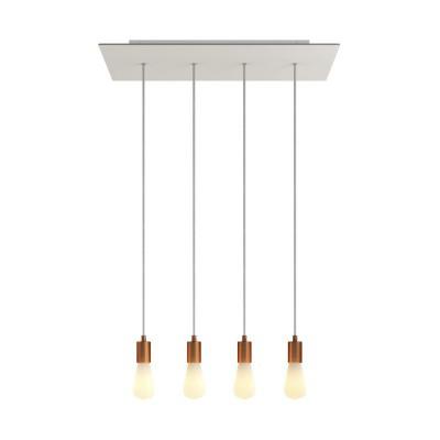 Závěsná lampa se 4 světly, s obdélníkovým XXL baldachýnem Rose-One, textilním kabelem a kovovými komponenty