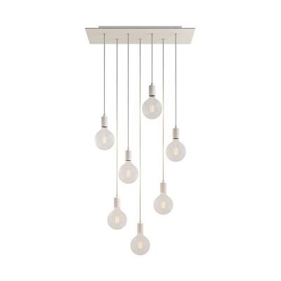 Závěsná lampa se 7 světly, s obdélníkovým XXL baldachýnem Rose-One, textilním kabelem a kovovými komponenty