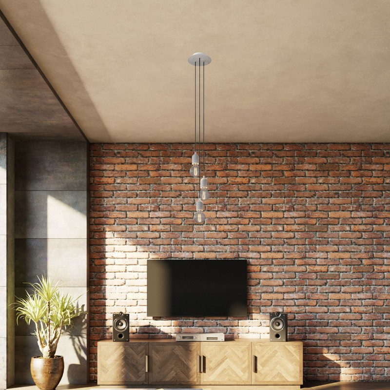 3-light pendant lamp with 200 mm round Rose-One, featuring fabric cable and concrete finishes