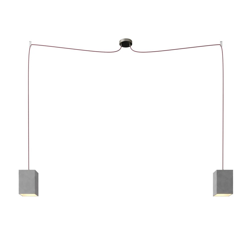 Spider - svítidlo se 2 závěsnými světly, textilním kabelem a betonovými stínidly. Vyrobeno v Itálii.