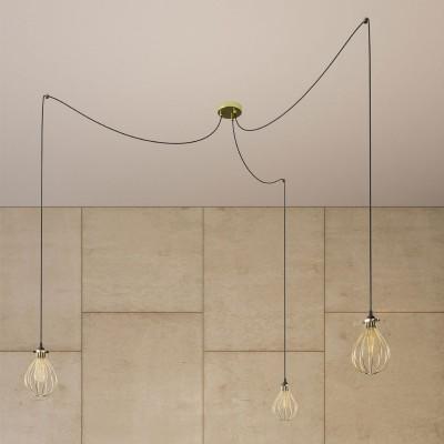 Spider - svítidlo se 3 závěsnými světly, textilním kabelem a klecovými stínidly ve tvaru kapky. Vyrobeno v Itálii.